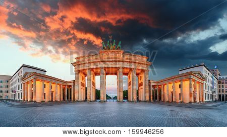 Brandenburg Gate in Berlin Germany - panoramic view