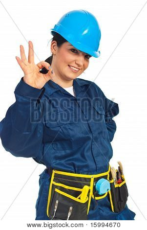 Happy Worker Woman Showing Okay