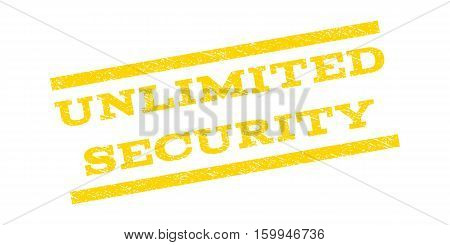 Unlimited Security watermark stamp. Text tag between parallel lines with grunge design style. Rubber seal stamp with unclean texture. Vector yellow color ink imprint on a white background.