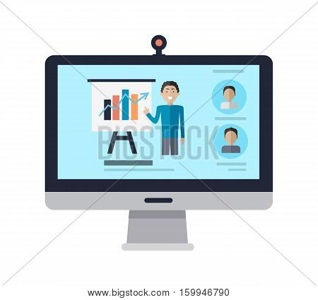 Computer display with manager standing near presentation screen. Profile userpics in left corner. Editable items in flat style. Part of series of accessories for work in office. Vector illustration