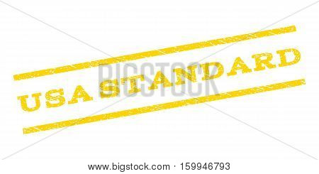 USA Standard watermark stamp. Text tag between parallel lines with grunge design style. Rubber seal stamp with dust texture. Vector yellow color ink imprint on a white background.