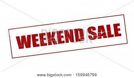 Stamp with text weekend sale inside vector illustration