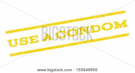 Use a Condom watermark stamp. Text caption between parallel lines with grunge design style. Rubber seal stamp with dirty texture. Vector yellow color ink imprint on a white background.