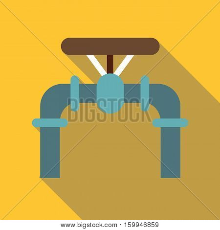 Pipe with valves icon. Flat illustration of pipe with valves vector icon for web