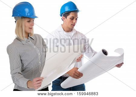 Architects architect reading plan occupation job isolated on a white background
