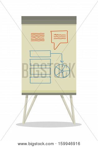 Whiteboard with infographics. Board at a presentation with diagram. On whiteboard show analytical information. Development of algorithm steps. Isolated object in flat design on white background.
