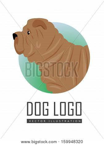 Brown shar pei dog, round logo on white background. Dog icon. Vector illustration in flat style. Side view shar pei design. Cartoon dog character, pet animal.