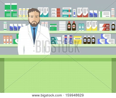 Web banner of a pharmacist. Young man in the workplace in a pharmacy: standing in front of shelves with medicines. Vector illustration