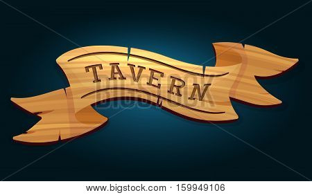 Tavern wooden signboard on dark blue background vector illustration
