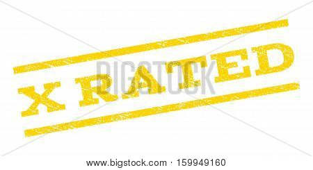 X Rated watermark stamp. Text caption between parallel lines with grunge design style. Rubber seal stamp with dirty texture. Vector yellow color ink imprint on a white background.