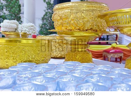 Songkran in Thailand Water Bowl with fragrance flowers for pay respect to oelderly peoples