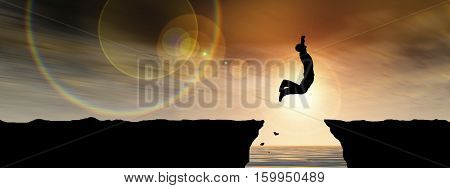Concept or conceptual 3D illustration young man or businessman silhouette jump happy from cliff over water gap sunset or sunrise sky background banner