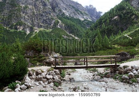 Bridge In Valley Fischleintal Sexten Dolomites In South Tyrol, Italy