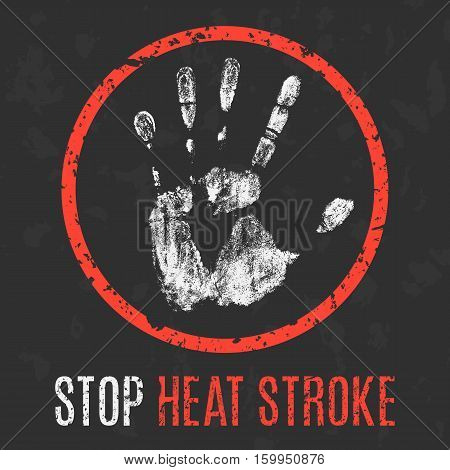 Conceptual vector illustration. Human diseases. Stop heat stroke.