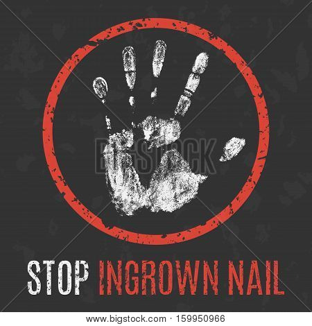 Conceptual vector illustration. Human diseases. Stop ingrown nail.