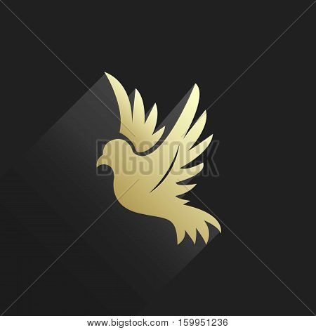 Golden Bird or Pigeon or Dove Silhouette Logo with Long Shadow