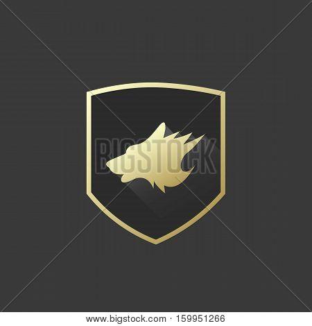 Golden Shield Wolf Head Silhouete Logo or Icon