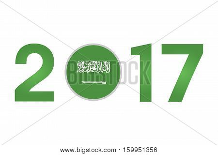 New Year 2017 with Saudi Arabia Flag Isolated on White Background - Vector Illustration