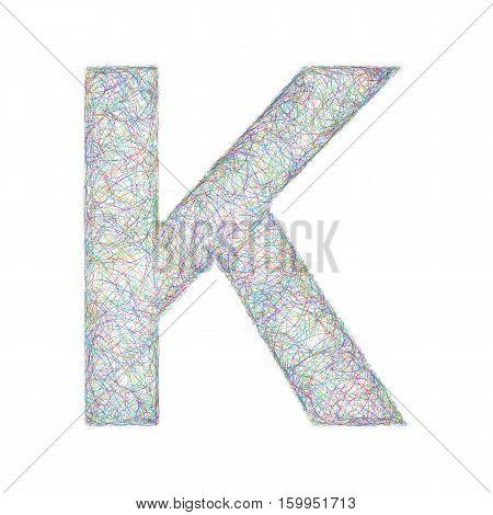 Sketch font design from colored curved lines - letter K