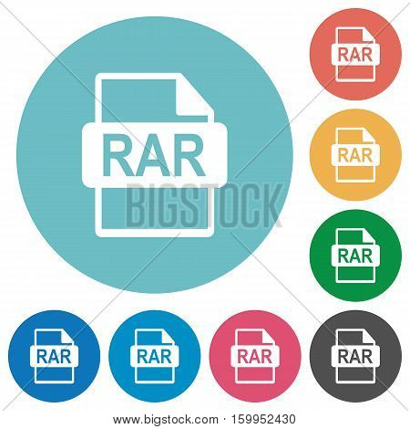 RAR file format white flat icons on color rounded square backgrounds