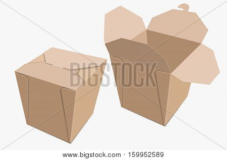 Beige Paper Container Of Chinese Food. Storage Box Delivery. Vector