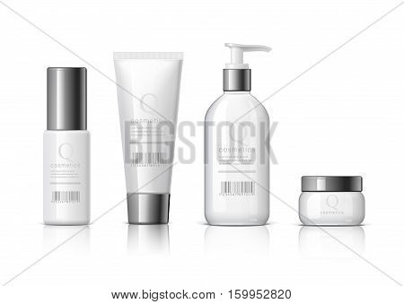 Set of Realistic cosmetic bottle on a white background. Cosmetic package collection for cream soups foams shampoo glue. Mock up set for brand template. vector illustration.