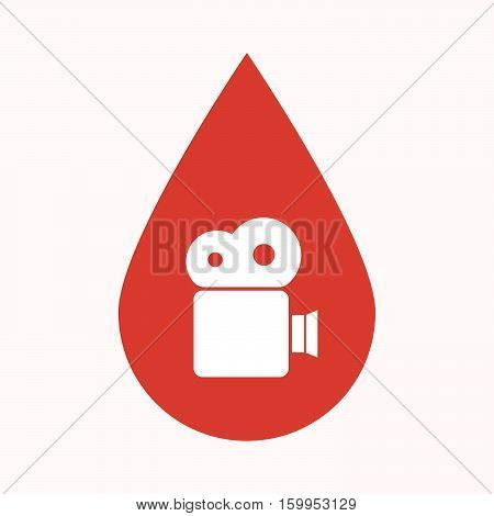 Isolated Blood Drop With A Film Camera