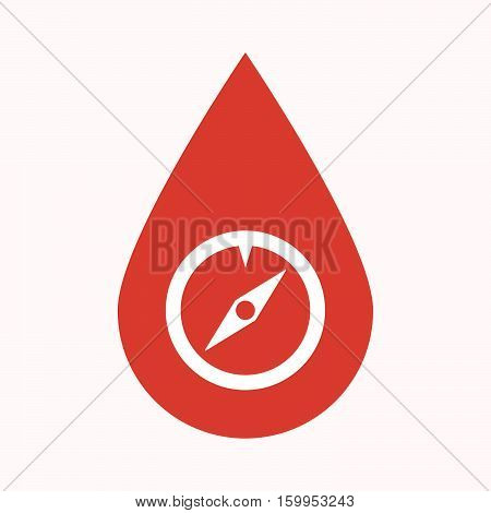 Isolated Blood Drop With A Compass