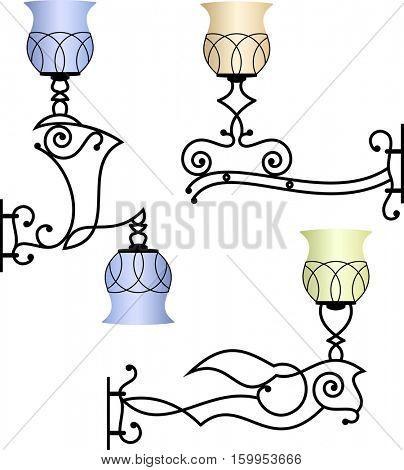 Wrought Iron Wall Lamp Vector Illustration