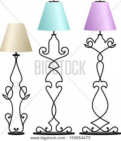 Wrought Iron Table Floor Lamp Vector Illustration