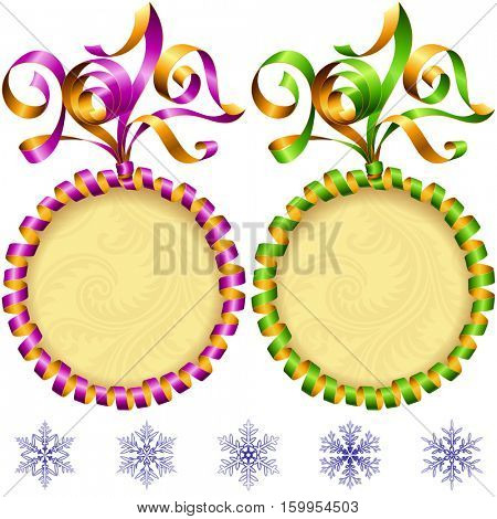 Vector New Year 2017 circle frame set isolated on white background. Purple and green streamer
