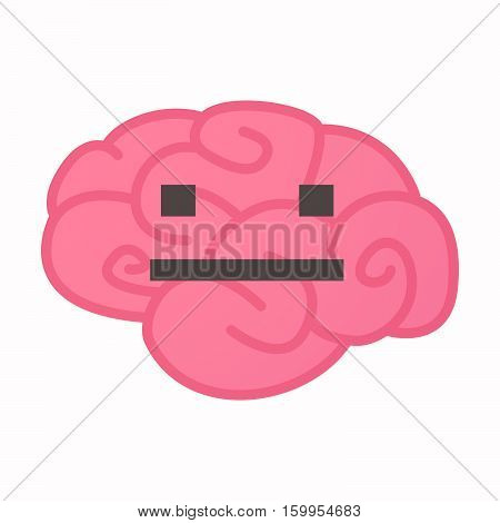 Isolated Brain With A Emotionless Text Face
