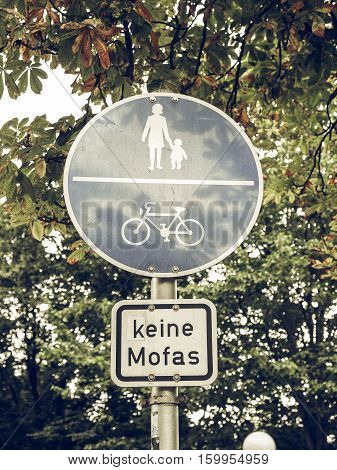 Vintage Looking Pedestrian Area Sign