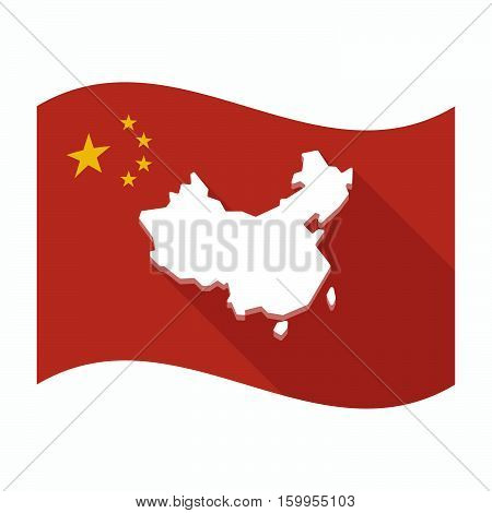 Isolated China Flag With  A Map Of China