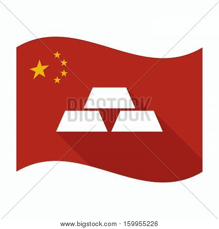 Isolated China Flag With Three Gold Bullions