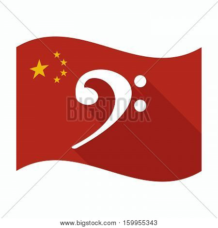 Isolated China Flag With An F Clef