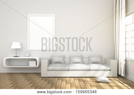3D Rendering : Illustration Of Cozy Living-room Interior With White Book Shelf And White Sofa Furnit