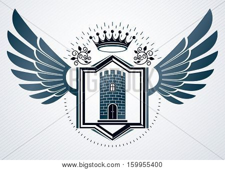 Vector Vintage Heraldic Coat Of Arms Created In Award Design And Decorated Using Eagle Wings, And Me