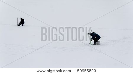 Landscape Fisherman On Winter Fishing Far View
