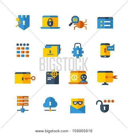 Cyber security, virus web protection vector flat icons. Protection server mail, set of icon privacy server computer security illustration