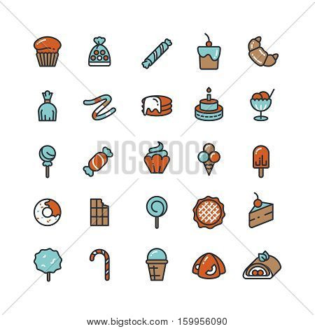 Candy, desserts, ice cream, sweets, donut vector icons. Collection of desserts cake and chocolate, taste cup cake and croissant illustration
