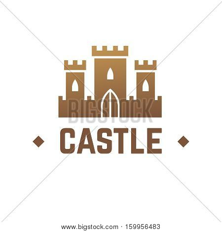 Castle vector logo design. Knights fortress with towers business emblem. Logotype medieval castle with tower, logo fortress castle illustration
