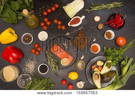 Healthy Food Table Ingredient. Overhead Of Salmon Fish And Fresh Vegies.