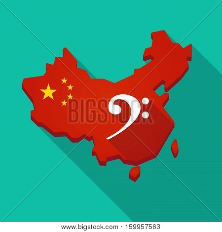 Long Shadow China Map With An F Clef