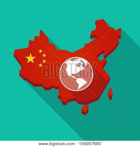 Long Shadow China Map With An America Region World Globe