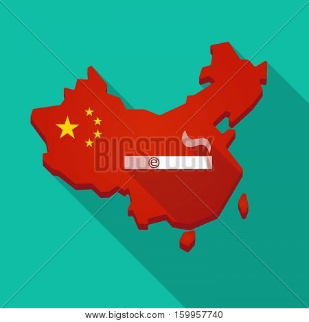 Long Shadow China Map With An Electronic Cigarette