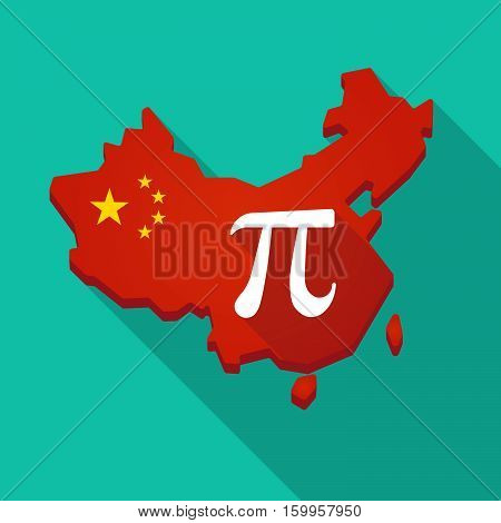 Long Shadow China Map With The Number Pi Symbol