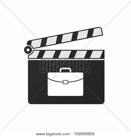 Isolated Clapper Board With  A Briefcase