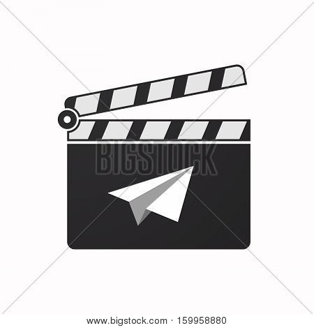 Isolated Clapper Board With A Paper Plane