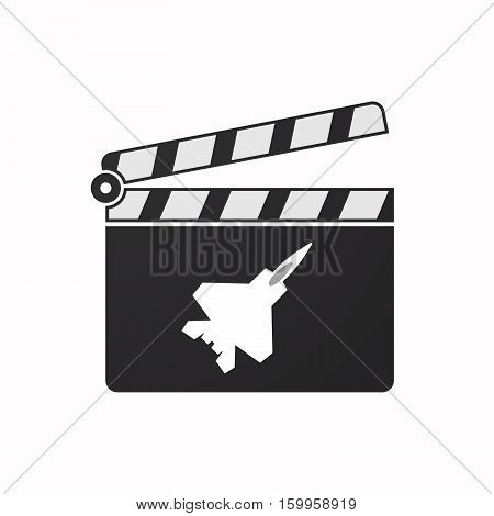 Isolated Clapper Board With A Combat Plane